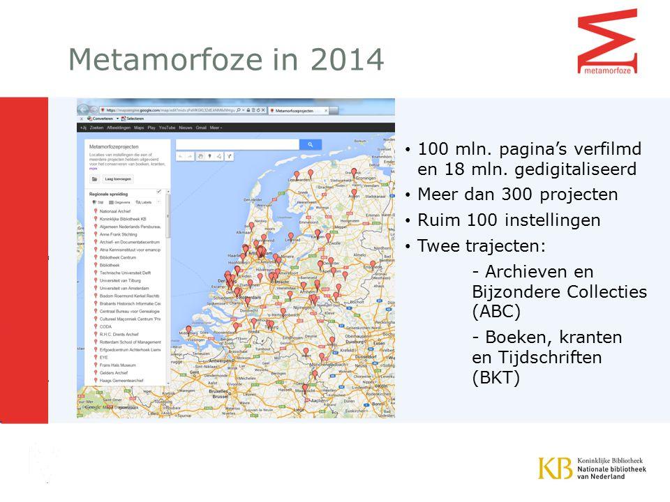 Metamorfoze in 2014 100 mln.pagina's verfilmd en 18 mln.