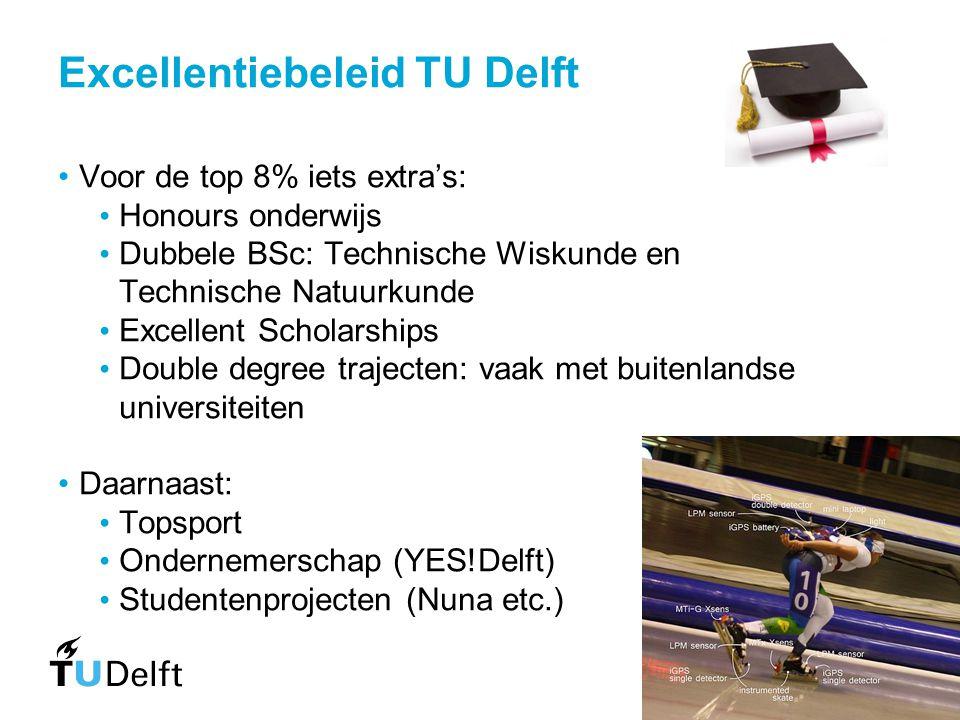 Excellentiebeleid TU Delft Voor de top 8% iets extra's: Honours onderwijs Dubbele BSc: Technische Wiskunde en Technische Natuurkunde Excellent Scholar