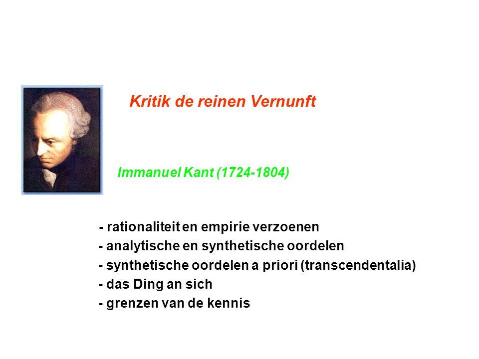 Kritik de reinen Vernunft Immanuel Kant (1724-1804) - rationaliteit en empirie verzoenen - analytische en synthetische oordelen - synthetische oordele