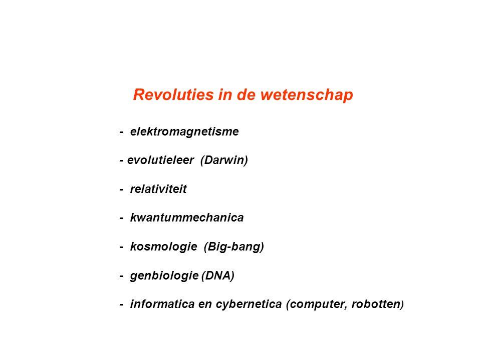 Revoluties in de wetenschap - elektromagnetisme - evolutieleer (Darwin) - relativiteit - kwantummechanica - kosmologie (Big-bang) - genbiologie (DNA)