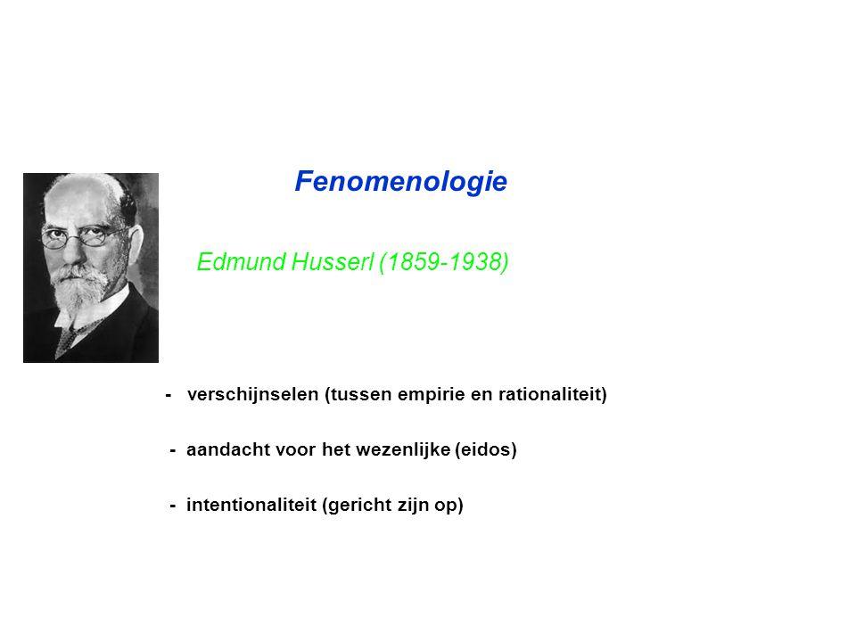 Fenomenologie Edmund Husserl (1859-1938) - verschijnselen (tussen empirie en rationaliteit) - aandacht voor het wezenlijke (eidos) - intentionaliteit