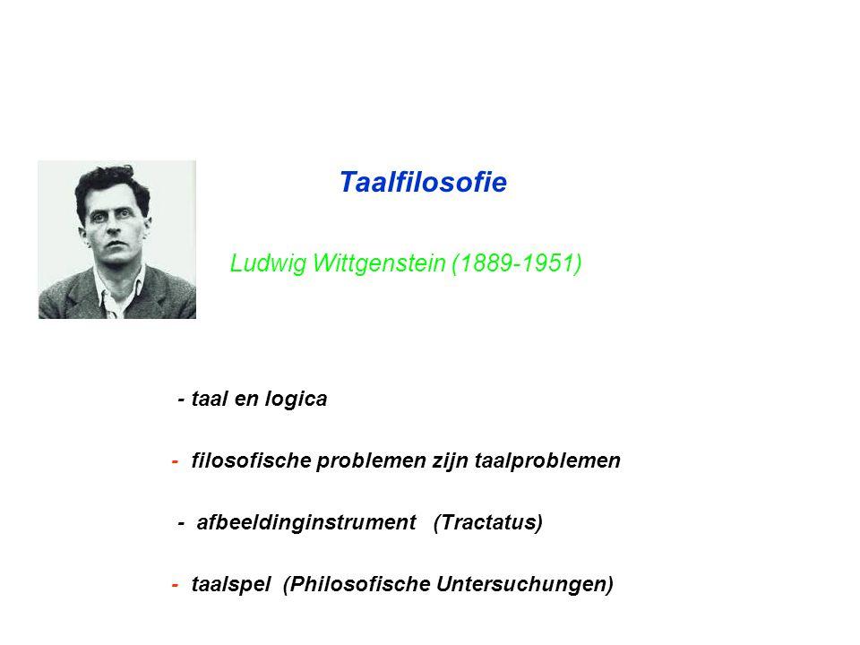 Taalfilosofie Ludwig Wittgenstein (1889-1951) - taal en logica - filosofische problemen zijn taalproblemen - afbeeldinginstrument (Tractatus) - taalsp