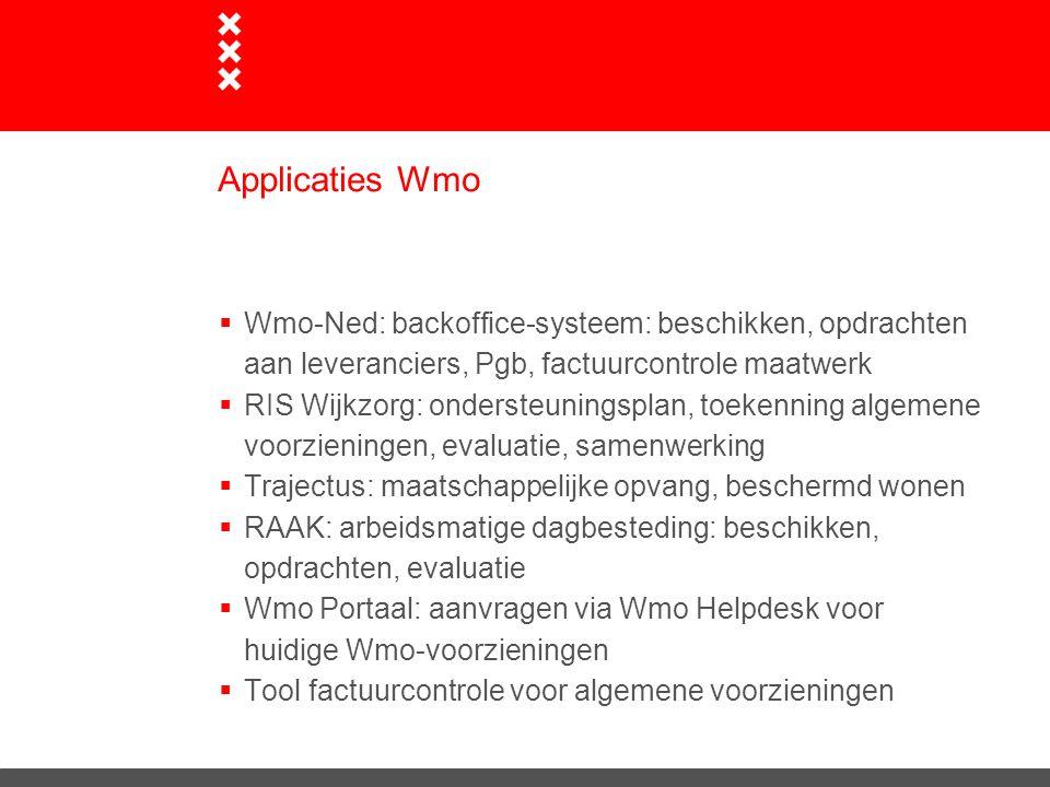 Applicaties Wmo  Wmo-Ned: backoffice-systeem: beschikken, opdrachten aan leveranciers, Pgb, factuurcontrole maatwerk  RIS Wijkzorg: ondersteuningspl