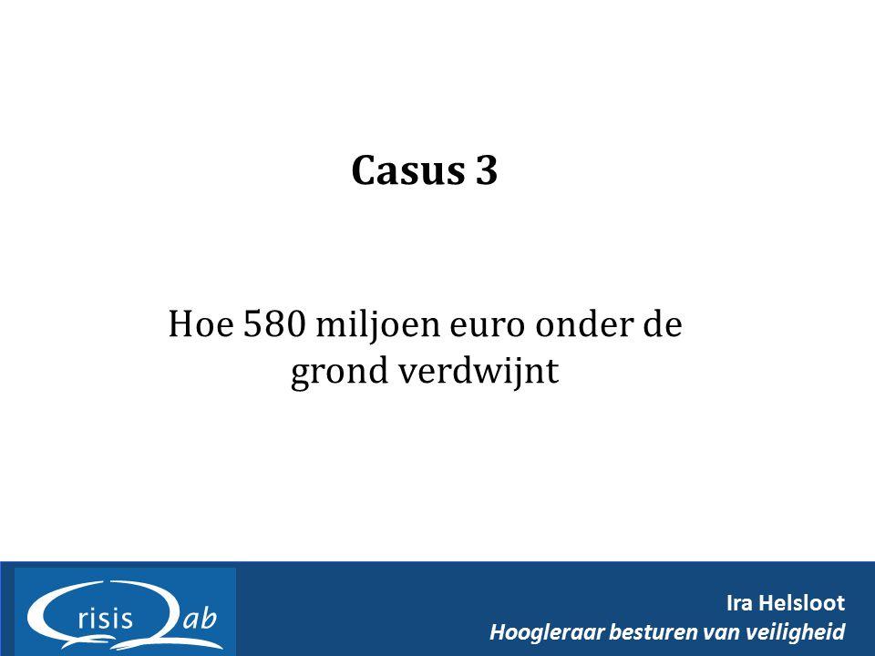 Casus 3 Hoe 580 miljoen euro onder de grond verdwijnt Ira Helsloot Hoogleraar besturen van veiligheid