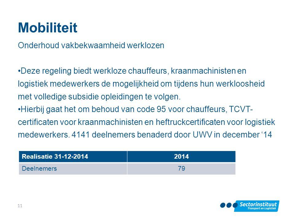 Mobiliteit Onderhoud vakbekwaamheid werklozen Deze regeling biedt werkloze chauffeurs, kraanmachinisten en logistiek medewerkers de mogelijkheid om ti