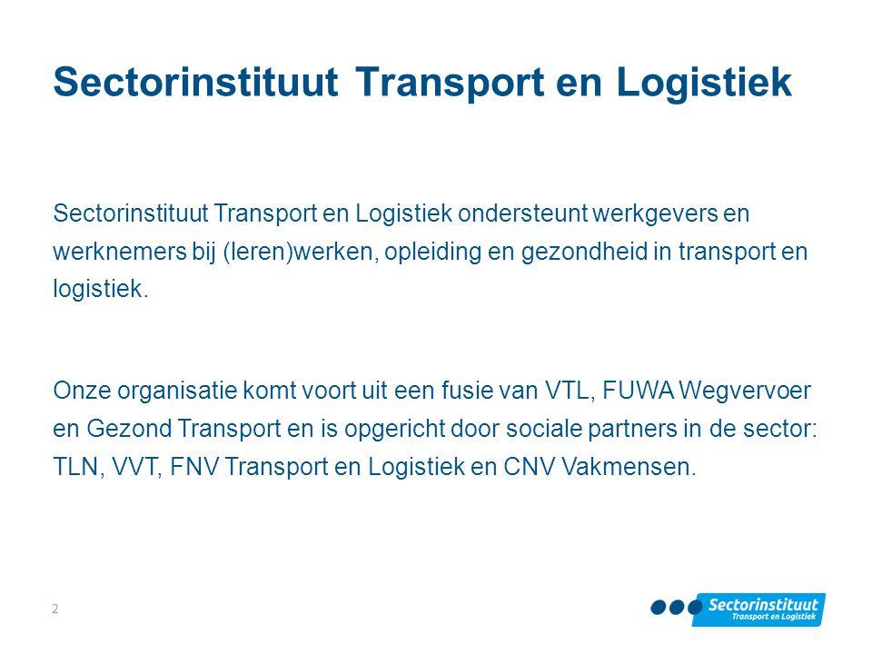 Sectorinstituut Transport en Logistiek Sectorinstituut Transport en Logistiek ondersteunt werkgevers en werknemers bij (leren)werken, opleiding en gez