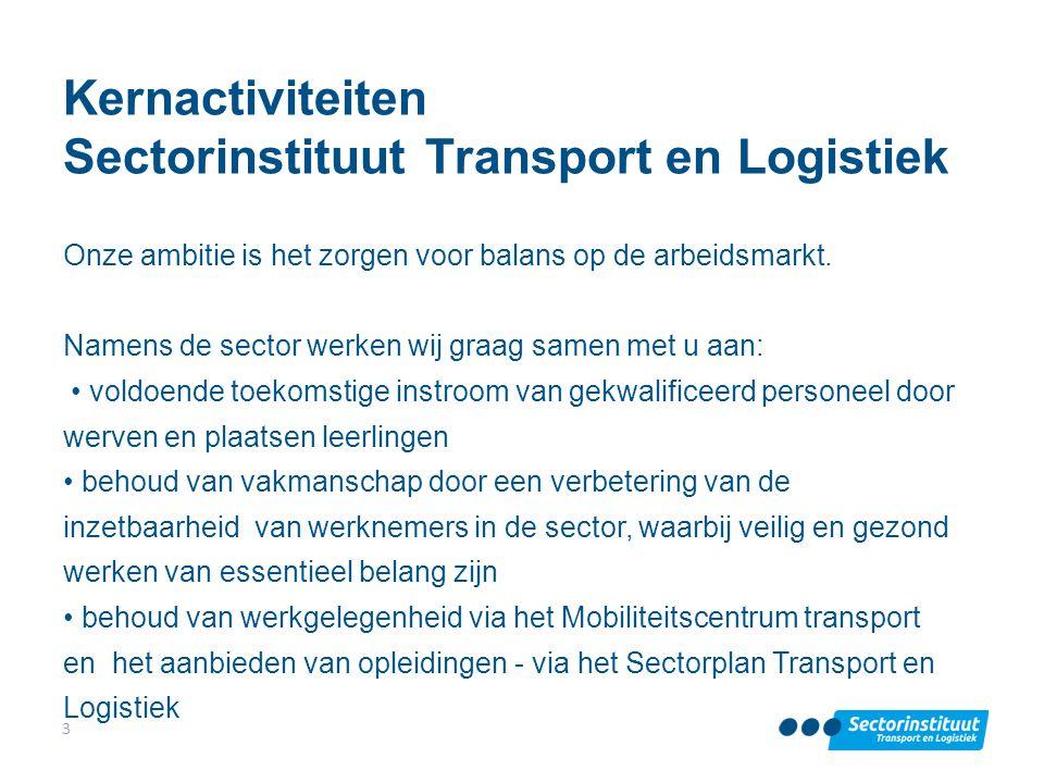 Kernactiviteiten Sectorinstituut Transport en Logistiek Onze ambitie is het zorgen voor balans op de arbeidsmarkt. Namens de sector werken wij graag s