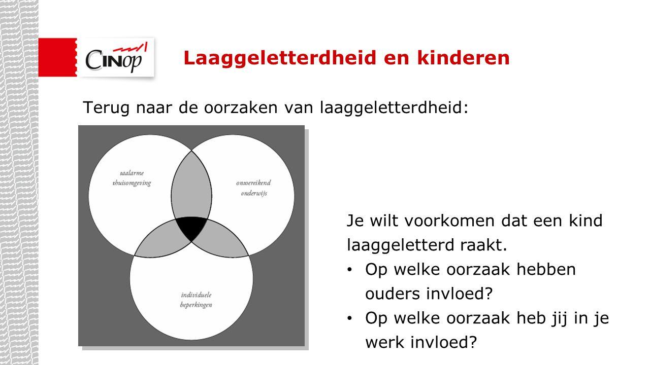 Laaggeletterdheid en kinderen Terug naar de oorzaken van laaggeletterdheid: Je wilt voorkomen dat een kind laaggeletterd raakt. Op welke oorzaak hebbe
