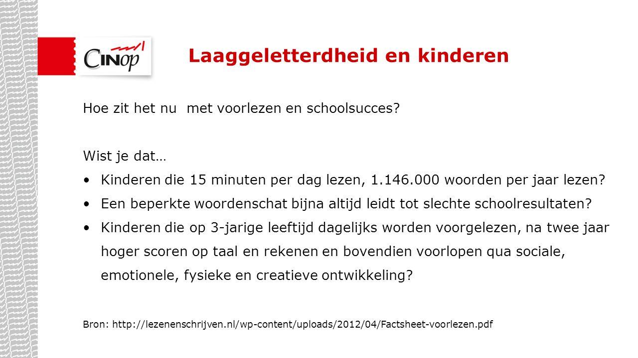 Laaggeletterdheid en kinderen Hoe zit het nu met voorlezen en schoolsucces? Wist je dat… Kinderen die 15 minuten per dag lezen, 1.146.000 woorden per