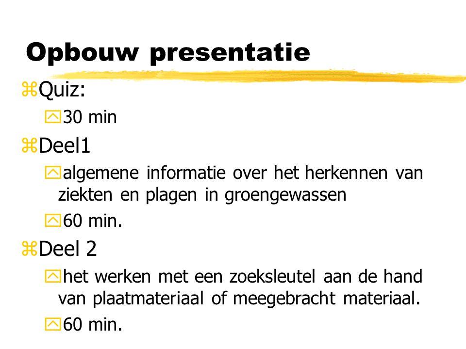 Opbouw presentatie zQuiz: y30 min zDeel1 yalgemene informatie over het herkennen van ziekten en plagen in groengewassen y60 min. zDeel 2 yhet werken m