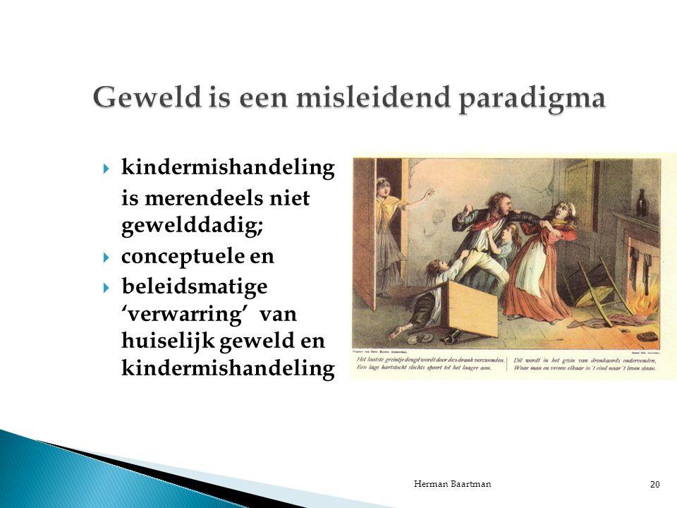  kindermishandeling is merendeels niet gewelddadig;  conceptuele en  beleidsmatige 'verwarring' van huiselijk geweld en kindermishandeling Herman Baartman 20