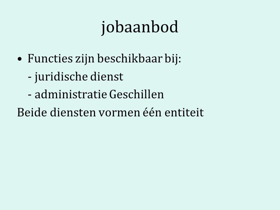 jobaanbod Functies zijn beschikbaar bij: - juridische dienst - administratie Geschillen Beide diensten vormen één entiteit