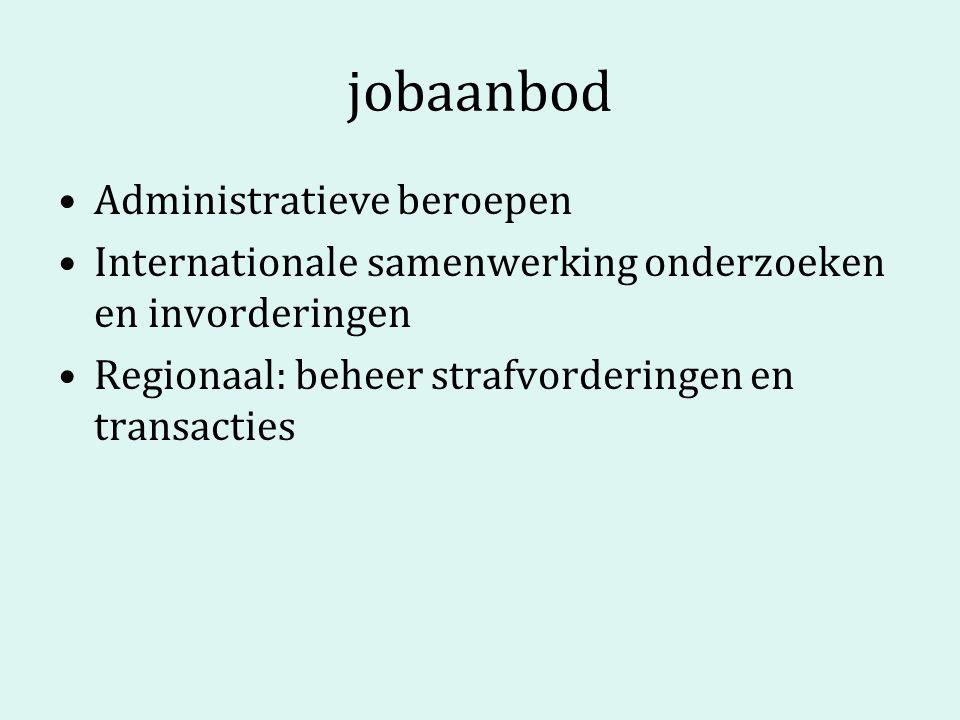 jobaanbod Administratieve beroepen Internationale samenwerking onderzoeken en invorderingen Regionaal: beheer strafvorderingen en transacties