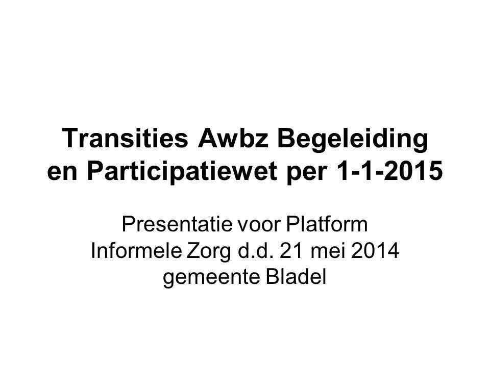Transities Awbz Begeleiding en Participatiewet per 1-1-2015 Presentatie voor Platform Informele Zorg d.d. 21 mei 2014 gemeente Bladel