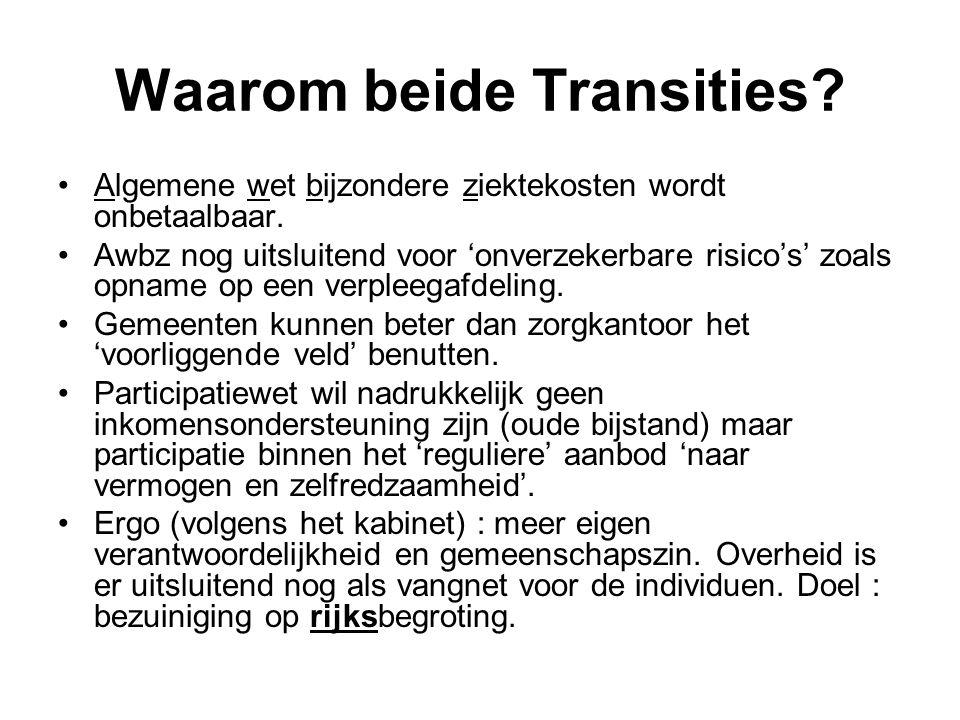 Waarom beide Transities? Algemene wet bijzondere ziektekosten wordt onbetaalbaar. Awbz nog uitsluitend voor 'onverzekerbare risico's' zoals opname op