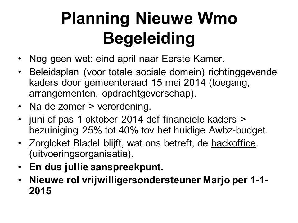 Planning Nieuwe Wmo Begeleiding Nog geen wet: eind april naar Eerste Kamer. Beleidsplan (voor totale sociale domein) richtinggevende kaders door gemee