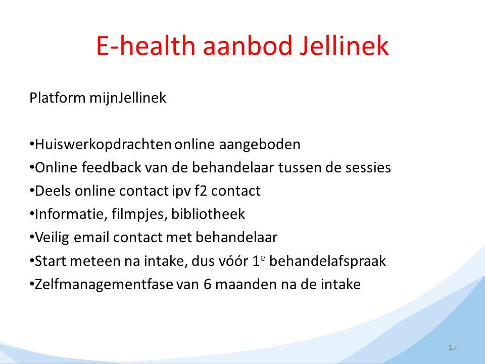 E-health aanbod Jellinek Platform mijnJellinek Huiswerkopdrachten online aangeboden Online feedback van de behandelaar tussen de sessies Deels online
