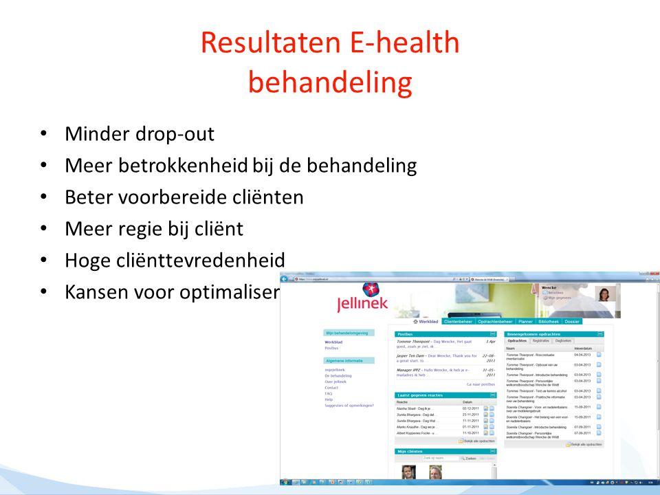 Resultaten E-health behandeling Minder drop-out Meer betrokkenheid bij de behandeling Beter voorbereide cliënten Meer regie bij cliënt Hoge cliënttevr