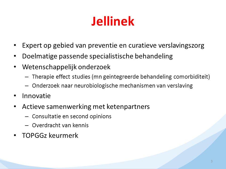 3 Jellinek Expert op gebied van preventie en curatieve verslavingszorg Doelmatige passende specialistische behandeling Wetenschappelijk onderzoek – Th
