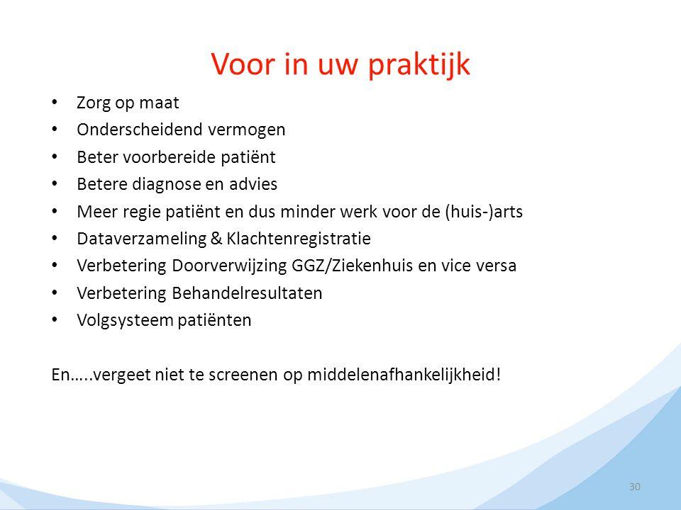 Voor in uw praktijk Zorg op maat Onderscheidend vermogen Beter voorbereide patiënt Betere diagnose en advies Meer regie patiënt en dus minder werk voo