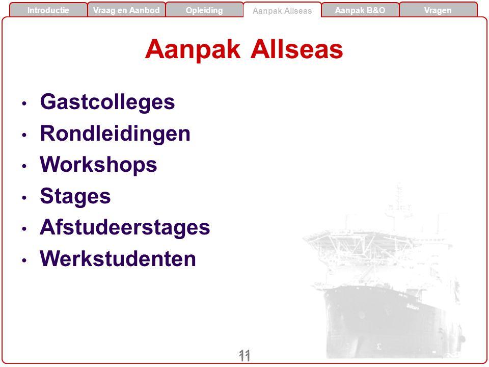 Vraag en AanbodOpleidingAanpak Allseas Aanpak B&O Vragen Introductie 11 Aanpak Allseas Gastcolleges Rondleidingen Workshops Stages Afstudeerstages Werkstudenten Aanpak Allseas