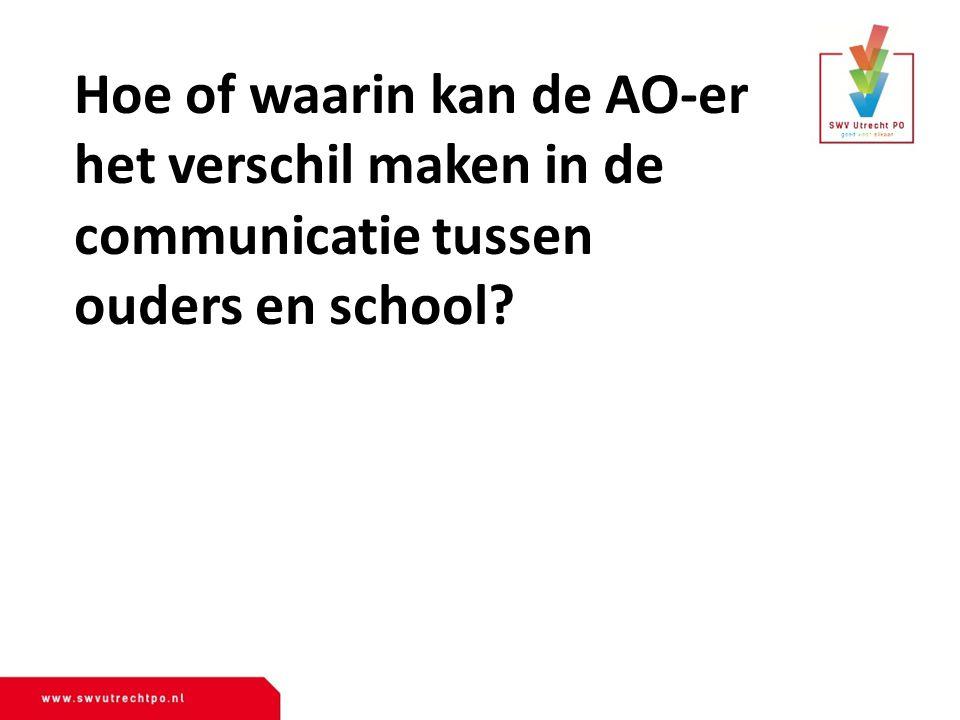 Hoe of waarin kan de AO-er het verschil maken in de communicatie tussen ouders en school?