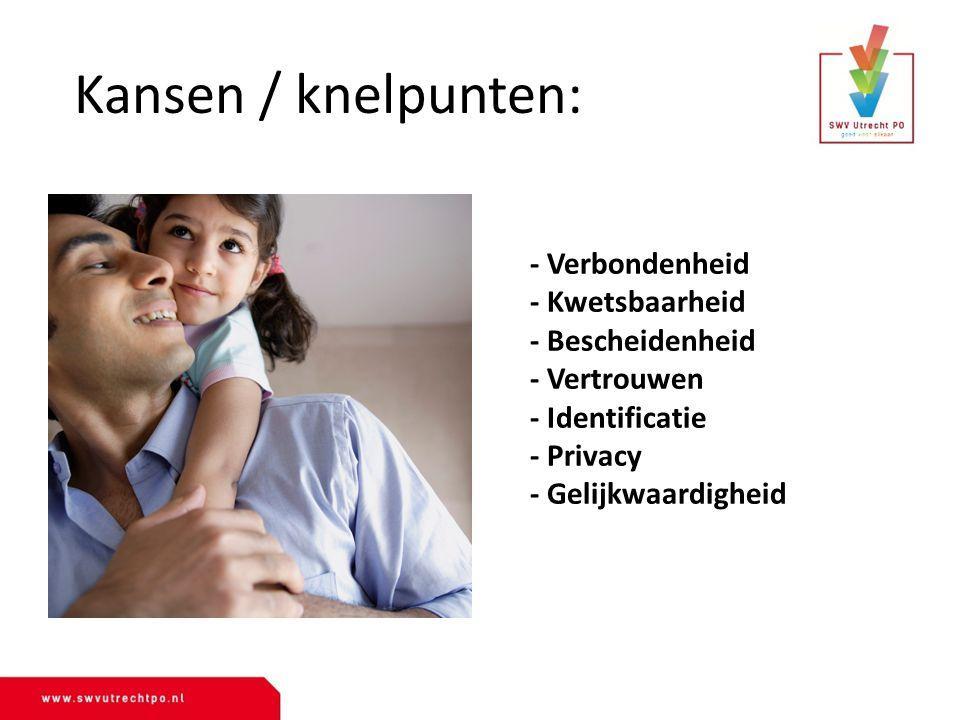 Kansen / knelpunten: - Verbondenheid - Kwetsbaarheid - Bescheidenheid - Vertrouwen - Identificatie - Privacy - Gelijkwaardigheid