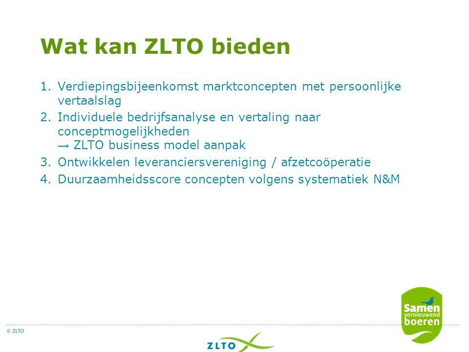Wat kan ZLTO bieden 1.Verdiepingsbijeenkomst marktconcepten met persoonlijke vertaalslag 2.Individuele bedrijfsanalyse en vertaling naar conceptmogeli