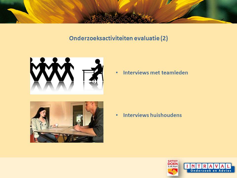Onderzoeksactiviteiten evaluatie (2) Interviews huishoudens Interviews met teamleden