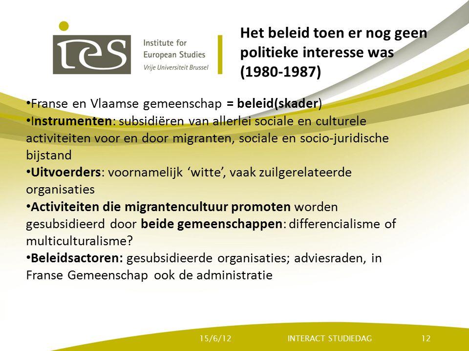 Het beleid toen er nog geen politieke interesse was (1980-1987) Franse en Vlaamse gemeenschap = beleid(skader) Instrumenten: subsidiëren van allerlei sociale en culturele activiteiten voor en door migranten, sociale en socio-juridische bijstand Uitvoerders: voornamelijk 'witte', vaak zuilgerelateerde organisaties Activiteiten die migrantencultuur promoten worden gesubsidieerd door beide gemeenschappen: differencialisme of multiculturalisme.