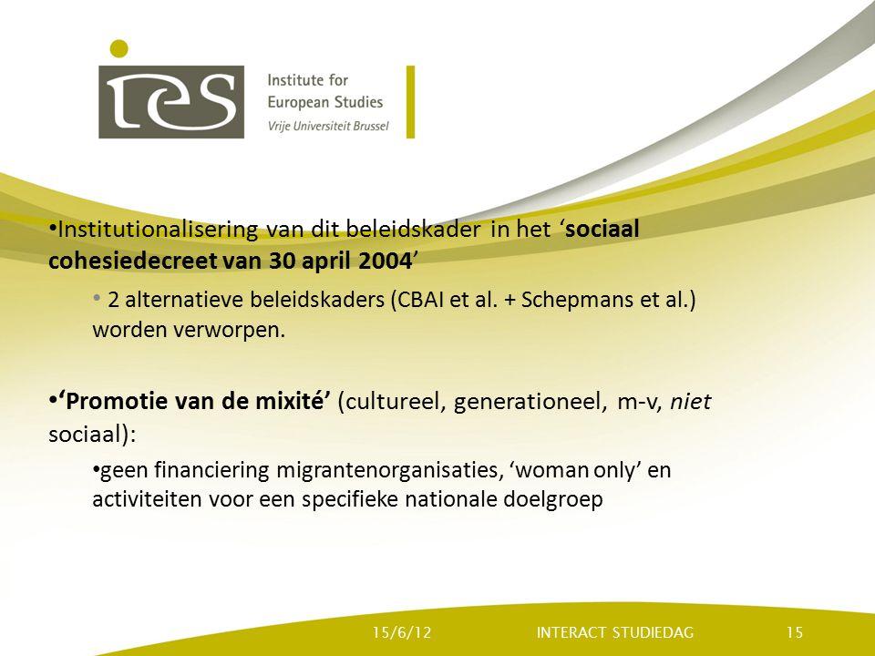 Institutionalisering van dit beleidskader in het 'sociaal cohesiedecreet van 30 april 2004' 2 alternatieve beleidskaders (CBAI et al. + Schepmans et a