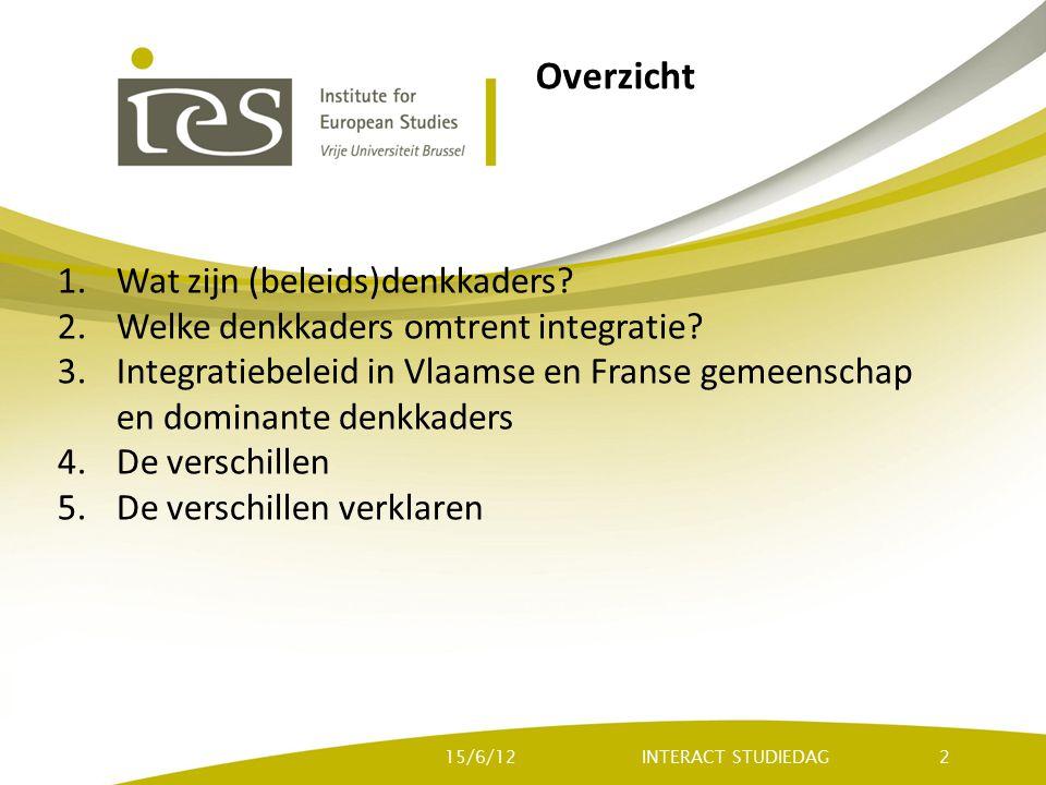 Overzicht 1.Wat zijn (beleids)denkkaders? 2.Welke denkkaders omtrent integratie? 3.Integratiebeleid in Vlaamse en Franse gemeenschap en dominante denk