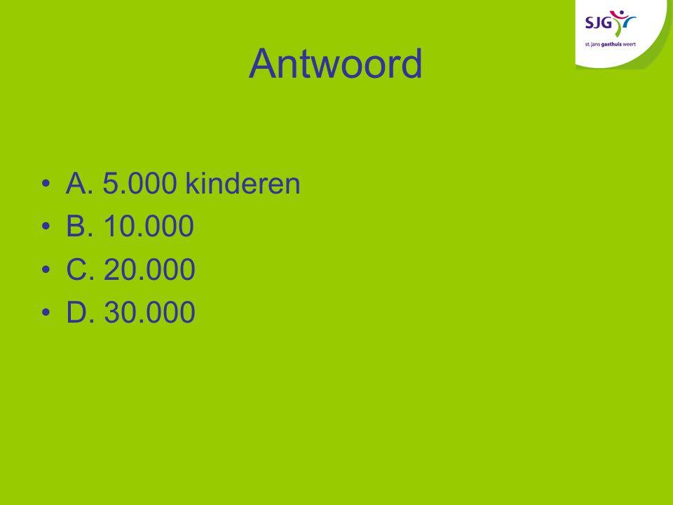 Antwoord A. 5.000 kinderen B. 10.000 C. 20.000 D. 30.000