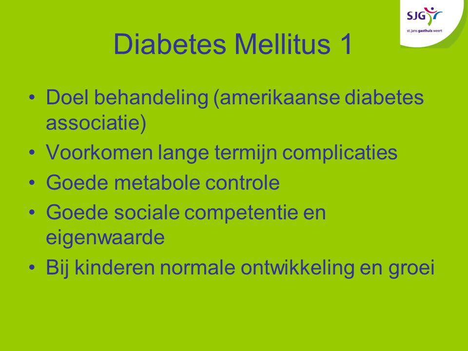 Diabetes Mellitus 1 Doel behandeling (amerikaanse diabetes associatie) Voorkomen lange termijn complicaties Goede metabole controle Goede sociale competentie en eigenwaarde Bij kinderen normale ontwikkeling en groei