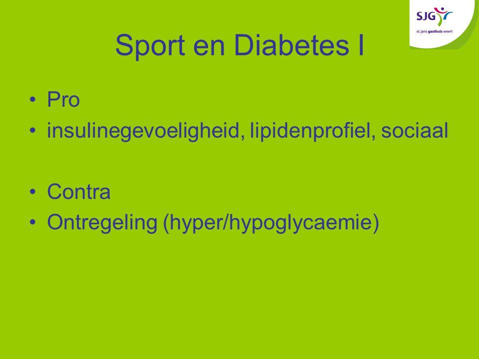 Sport en Diabetes I Pro insulinegevoeligheid, lipidenprofiel, sociaal Contra Ontregeling (hyper/hypoglycaemie)