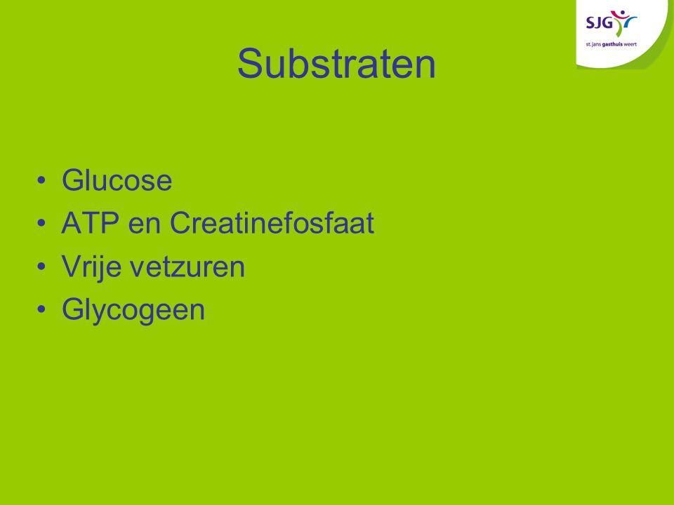 Substraten Glucose ATP en Creatinefosfaat Vrije vetzuren Glycogeen