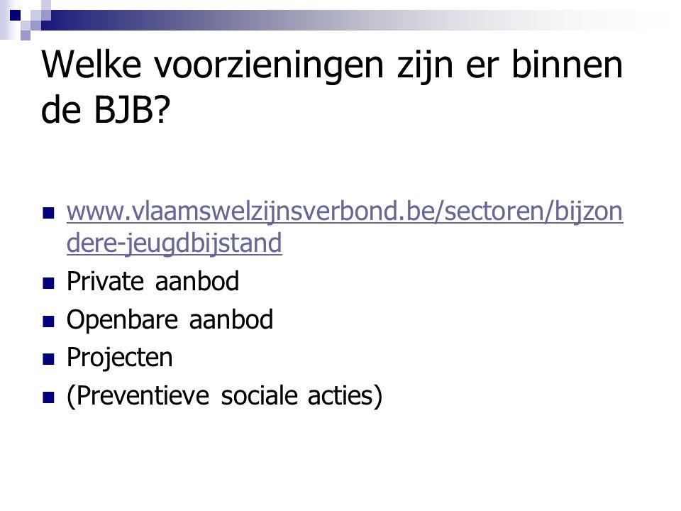 Welke voorzieningen zijn er binnen de BJB? www.vlaamswelzijnsverbond.be/sectoren/bijzon dere-jeugdbijstand www.vlaamswelzijnsverbond.be/sectoren/bijzo