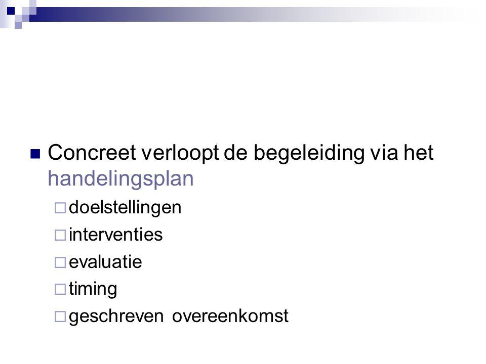 Concreet verloopt de begeleiding via het handelingsplan  doelstellingen  interventies  evaluatie  timing  geschreven overeenkomst