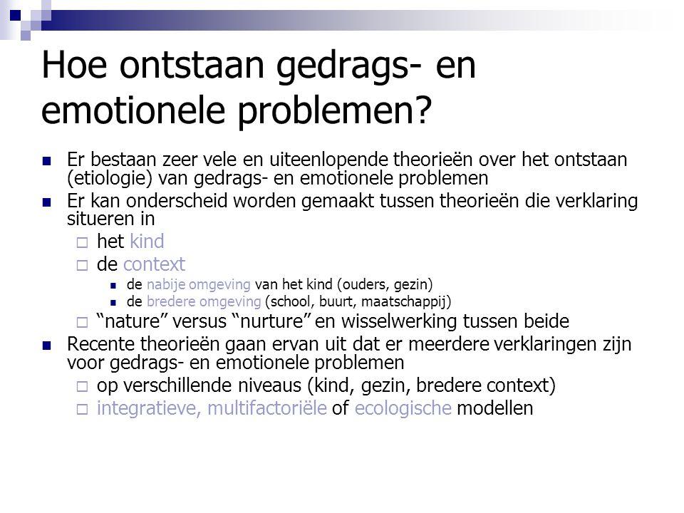 Hoe ontstaan gedrags- en emotionele problemen? Er bestaan zeer vele en uiteenlopende theorieën over het ontstaan (etiologie) van gedrags- en emotionel