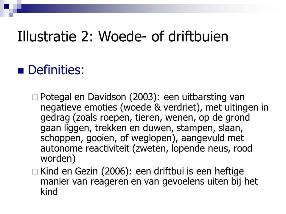 Illustratie 2: Woede- of driftbuien Definities:  Potegal en Davidson (2003): een uitbarsting van negatieve emoties (woede & verdriet), met uitingen i