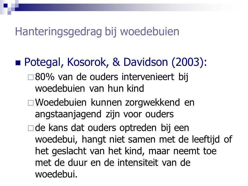 Hanteringsgedrag bij woedebuien Potegal, Kosorok, & Davidson (2003):  80% van de ouders intervenieert bij woedebuien van hun kind  Woedebuien kunnen