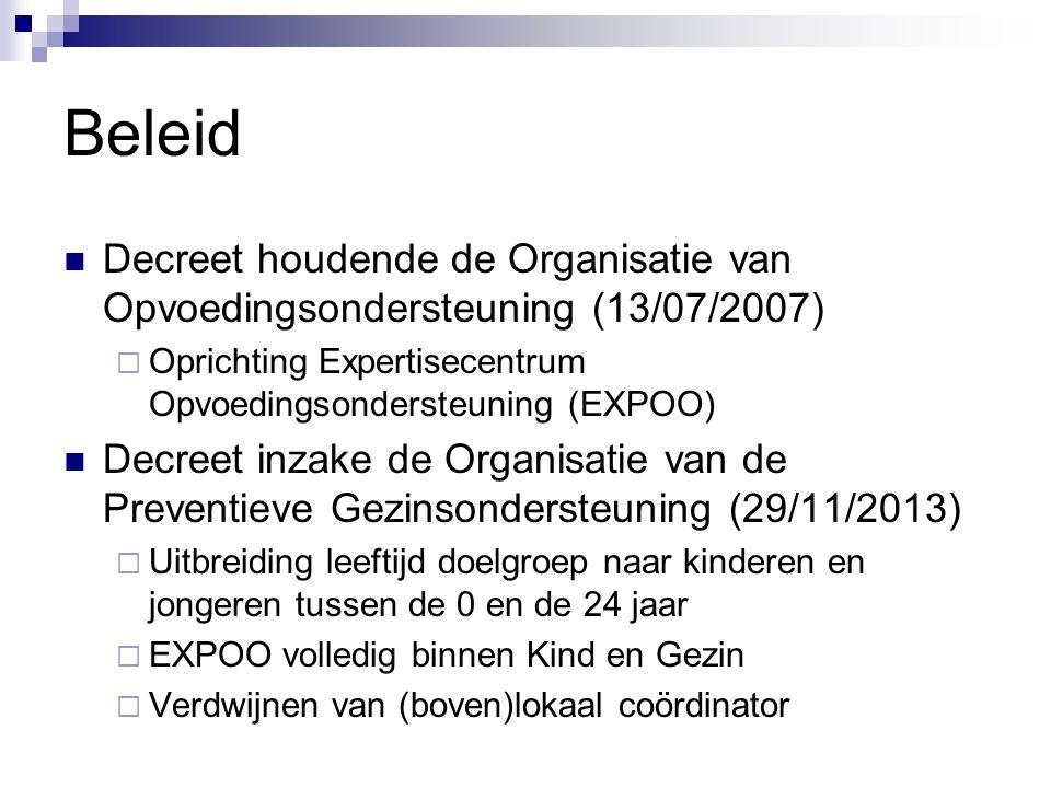 Beleid Decreet houdende de Organisatie van Opvoedingsondersteuning (13/07/2007)  Oprichting Expertisecentrum Opvoedingsondersteuning (EXPOO) Decreet