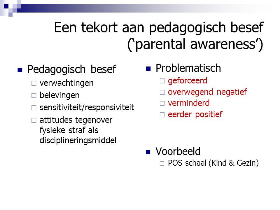 Een tekort aan pedagogisch besef ('parental awareness') Pedagogisch besef  verwachtingen  belevingen  sensitiviteit/responsiviteit  attitudes tege