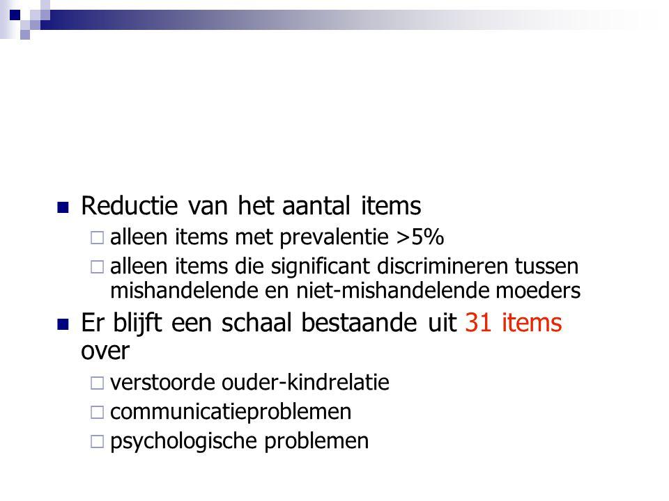 Reductie van het aantal items  alleen items met prevalentie >5%  alleen items die significant discrimineren tussen mishandelende en niet-mishandelen