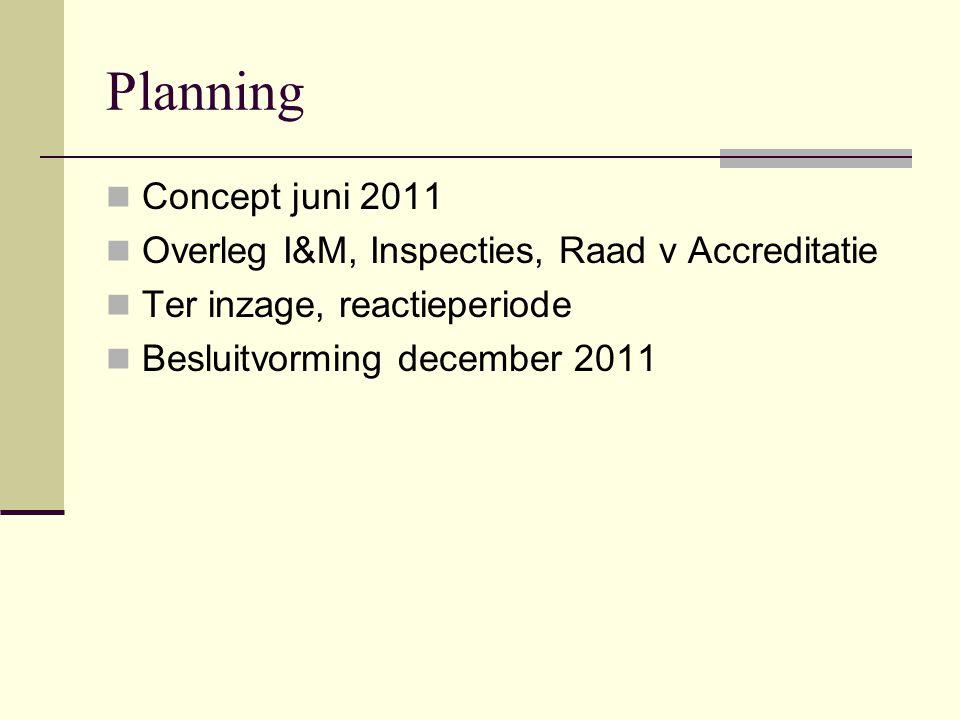 Planning Concept juni 2011 Overleg I&M, Inspecties, Raad v Accreditatie Ter inzage, reactieperiode Besluitvorming december 2011