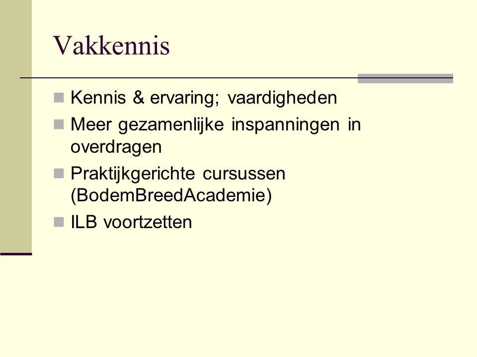Vakkennis Kennis & ervaring; vaardigheden Meer gezamenlijke inspanningen in overdragen Praktijkgerichte cursussen (BodemBreedAcademie) ILB voortzetten