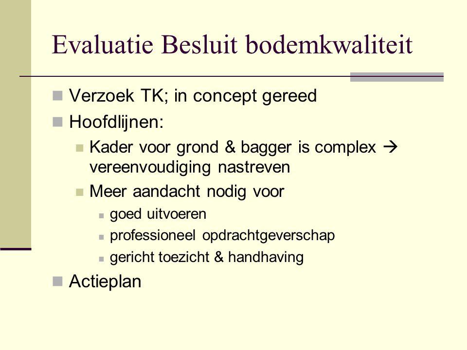 Evaluatie Besluit bodemkwaliteit Verzoek TK; in concept gereed Hoofdlijnen: Kader voor grond & bagger is complex  vereenvoudiging nastreven Meer aand