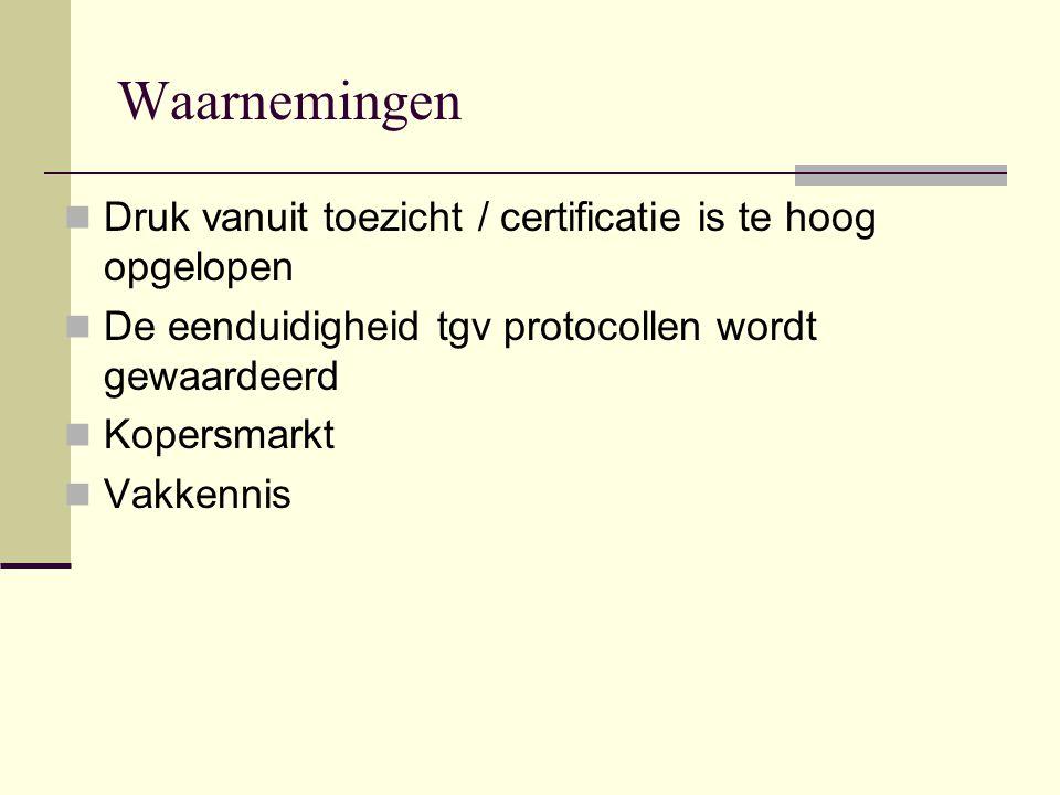 Toezicht CI steeds meer in rol controleur ipv coach  streven naar andere vorm van certificatie: managementsysteem Publiek toezicht ontwikkelt zich steeds meer naar structurele handhaving van protocollen (dubbeling van toezicht) inhoudelijke werkdocumenten voor gebruikers geen norm voor publiek toezicht (  geen 'juridificering' van protocollen)