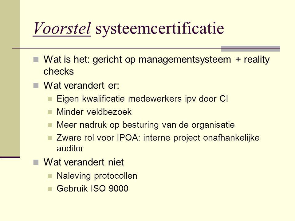 Voorstel systeemcertificatie Wat is het: gericht op managementsysteem + reality checks Wat verandert er: Eigen kwalificatie medewerkers ipv door CI Mi