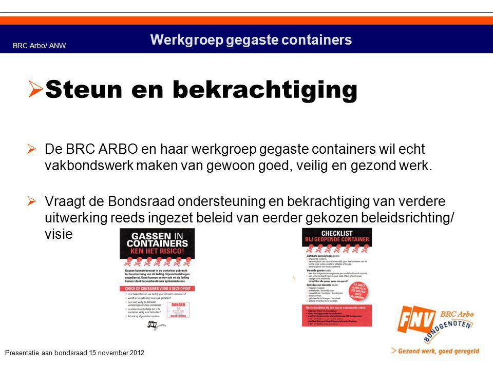 Werkgroep gegaste containers  Visie, werkwijze en stappen  De BRC ARBO/ werkgroep gegaste containers gaat aan de slag met een sector overstijgende campagne gassen in containers  De BRC ARBO/ werkgroep gegaste containers gaat aan de slag met het nemen van initiatief tot het oprichten van een Europees platform Gassen in Containers  De BRC ARBO/ werkgroep gegaste containers gaat aan de slag met het ontwikkelen van samenwerking met grasroot organisaties in o.a.